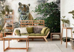Fototapete Katze Tiger im Boho-Wohnzimmer