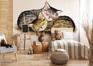 Fototapete zwei Katzen im Kinderzimmer