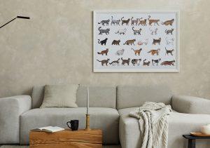 Poster Katzenrassen im minimalistischen Wohnzimmer